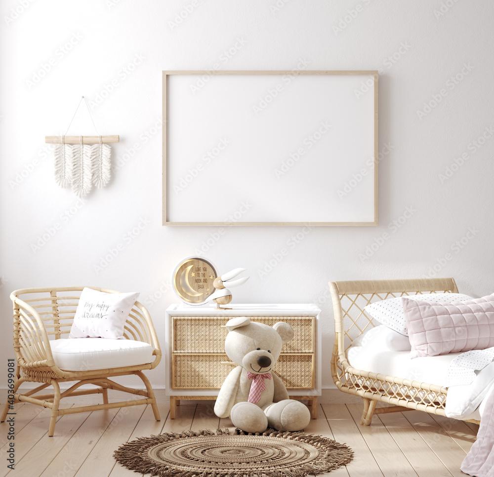 Fototapeta Mockup frame in children bedroom with wicker furniture, Coastal boho style, 3d render