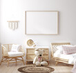 Leinwandbild Motiv Mockup frame in children bedroom with wicker furniture, Coastal boho style, 3d render