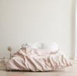 Leinwandbild Motiv Minimalist modern bedroom interior background, Scandinavian style, 3D render