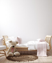 Wall Mockup In Children Bedroom Interior, Coastal Boho Style, 3d Render