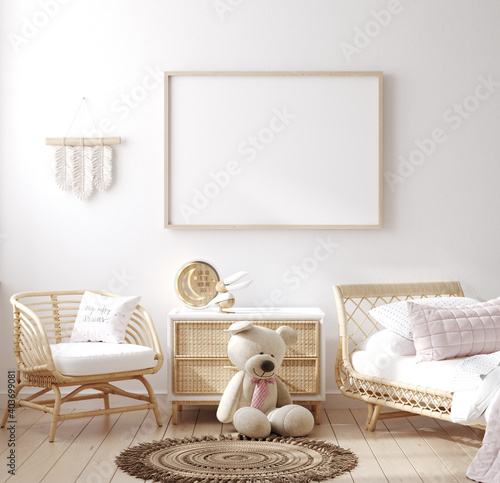 Fotografía Mockup frame in children bedroom with wicker furniture, Coastal boho style, 3d r