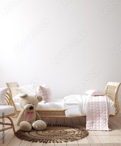 Photo Wall mockup in children bedroom interior, Coastal boho style, 3d render