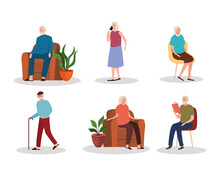 Group Of Six Elderly Old People Characters Vector Illustration Design