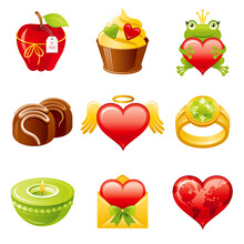 Valentine Day Icon. Vector Flat Love Set. Heart Illustration. Dating February Design For Gift Tag, Wedding Invitation, Greeting Card. Cute Cartoon Valentine's Art Drawing With Cupcake, Ring, Frog
