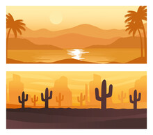 Seascape And Desert Abstract Landscapes Scenes Backgrounds Vector Illustration Design