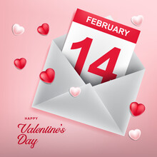 Love Icon With Envelope. Valentine's Day Background