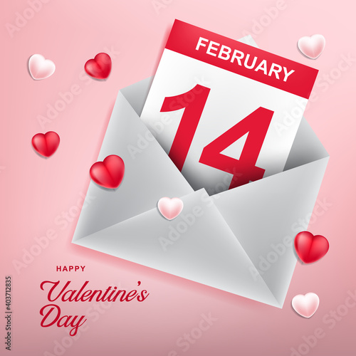 Obraz Love icon with envelope. Valentine's day background  - fototapety do salonu
