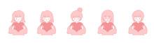 ハートを持っているいろいろな女性のイラストセット ピンク系