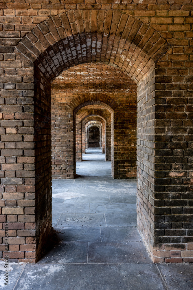 Repeating Narrow Archways in Brick Fort