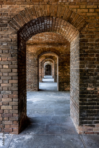 Fototapety, obrazy: Repeating Narrow Archways in Brick Fort