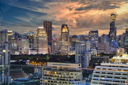 city skyline at night Wallpaper Mural