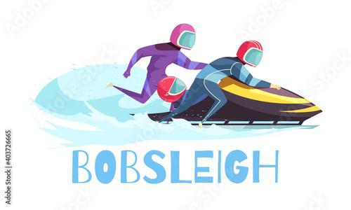 Leinwand Poster Bobsleigh Sports Illustration