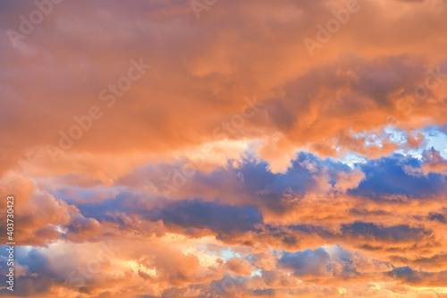 Fototapety, obrazy: オレンジ色の夕焼け雲に染まった空