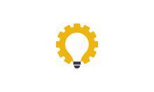 Creative Vector Illustration Logo Design. Light Bulb Metal Gear Concept.