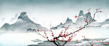 Ink Landscape Painting Of Mountain Peaks Of Plum Blossoms, Ancient Oriental Paintings, And Classical Asian Paintings.