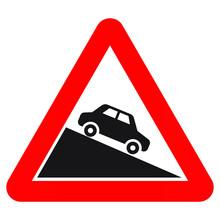 Norwegian Road Warning Sign - Steep Downhill Grade. Eps10 Vector Illustration.