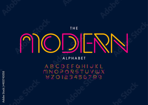 Obraz Stylized modern alphabet font vector - fototapety do salonu