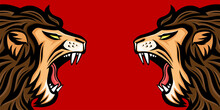 Two Angry Roaring Lions On A Red Background.