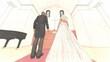 結婚式2 バージンロード 人あり2 イラスト70