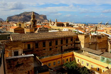Palermo, Italy, September 03, 2017, Monastery Of Santa Caterina, Panoramic Photo Of The City From The Monastery From Which You Can See A Church And In The Background The Cranes Of The Port Yard