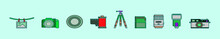 Set Of Photography Cartoon Icon Design Template With Various Models. Vector Illustration Isolated On Blue Background