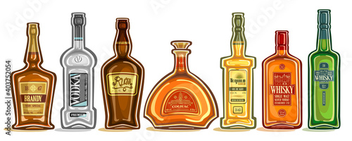 Obraz na plátně Vector Set of Alcohol Bottles, group of cut out illustrations of hard spirit drinks in bottles with decorative labels, lot collection of cartoon liquor bottles in a row on white background