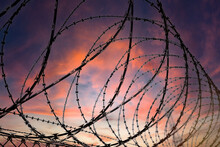 Silhouette Of A Barbed Wire Fence Steel Jail