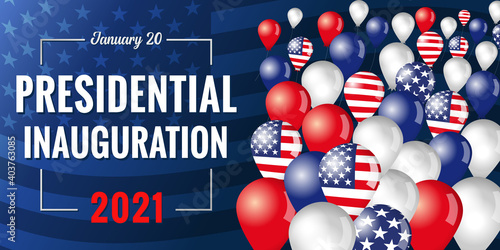Fotografie, Obraz Presidential inauguration USA January 20, 2021 banner with flying in the sky balloons