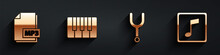 Set MP3 File Document, Music Synthesizer, Musical Tuning Fork And Music Note, Tone Icon With Long Shadow. Vector.