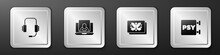Set Psychologist Online, , Rorschach Test And Psychology, Psi Icon. Silver Square Button. Vector.