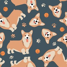 Seamless Vector Pattern With Corgi, Ball And Pawprint. Dog Breeds. Blue Background For Fabric, Textile, Wallpaper, Wrapping Paper