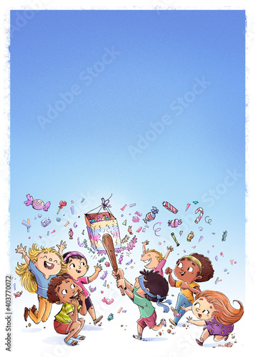 Obraz Group of children playing with pinata - fototapety do salonu