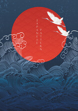Japanese Background With Crane Birds Decoration Vector. Hand Drawn Wave With Red Circle Shape Elements In Oriental Style.