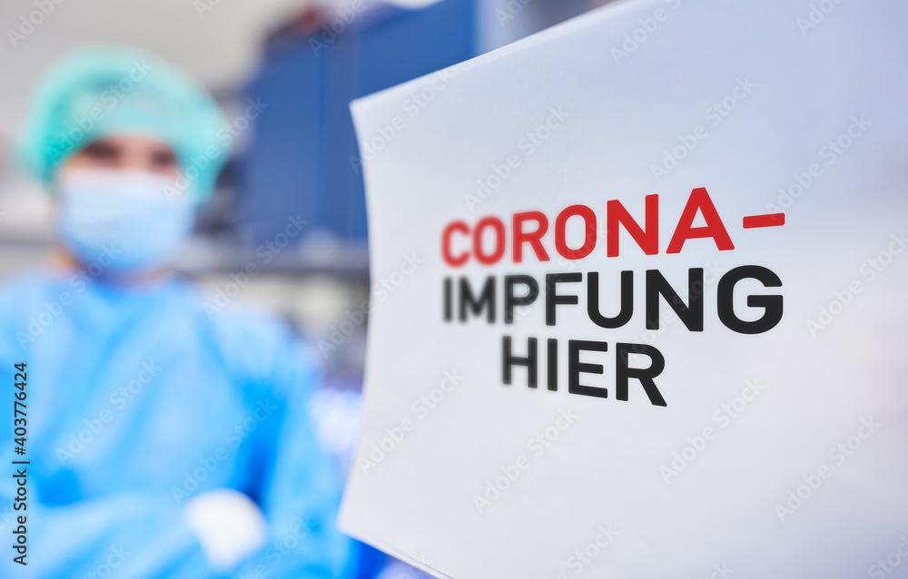 Fototapeta Corona-Impfung hier in Impfzentrum von Gesundheitsamt