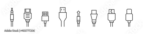 Fotografiet Cable connector icon set