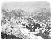 Top View Of Stone Town Rising On A Mountain Landscape With Church Far On Distance. Santa Eulalia, Chihuahua State, Mexico. Etching Style Art By Unidentified Author, Le Tour Du Monde, 1861
