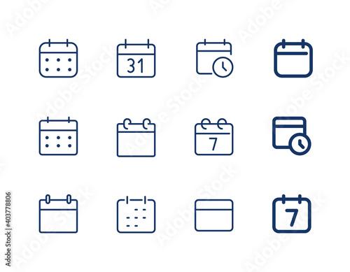 Obraz Calendar with clock. Vector line icon calendar. Agenda icons set. - fototapety do salonu