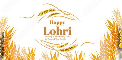 Canvas-taulu vector illustration of Happy Lohri holiday festival of Punjab India with beautif