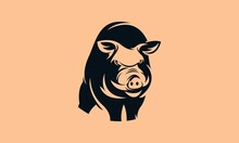 Wild Boar Illustration Logo Black And White