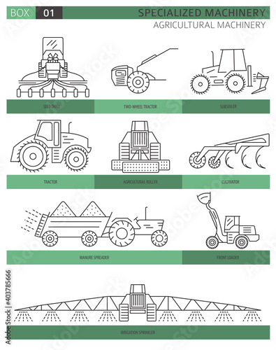 Fototapeta Special agricultural machinery linear vector icon set isolated on white