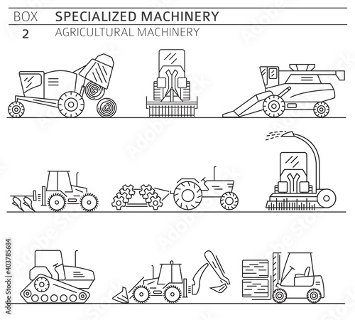 Special agricultural machinery linear vector icon set isolated on white