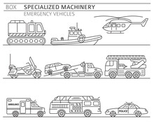 Specialized Machines, Emergency Vehicles Linear Vector Icon Set Isolated On White