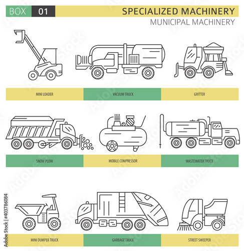 Obraz Special industrial road and municipal machine linear vector icon set isolated on white - fototapety do salonu