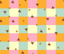 Pattern Bull And Bell On Checkered Background