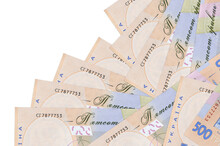 500 Ukrainian Hryvnias Bills Lies In Different Order Isolated On White. Local Banking Or Money Making Concept