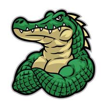 Crocodile Mascot With Huge Muscle Body