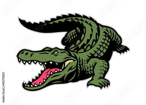 Photo crocodile mascot in whole body