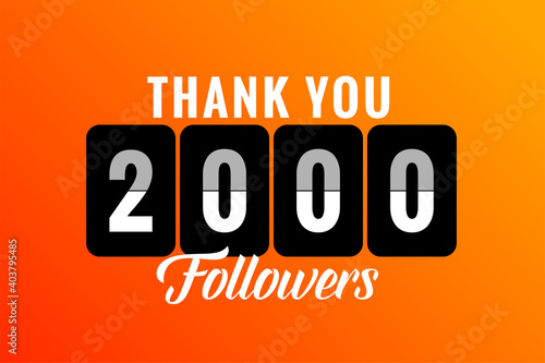 thank you 2000 social media followers and subscribers template Fototapet