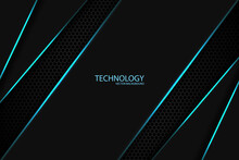 Modern Technology Background. Abstract Dark Background With Carbon Fiber, Geometric Shapes, Blue Glowing Lines And Highlights.