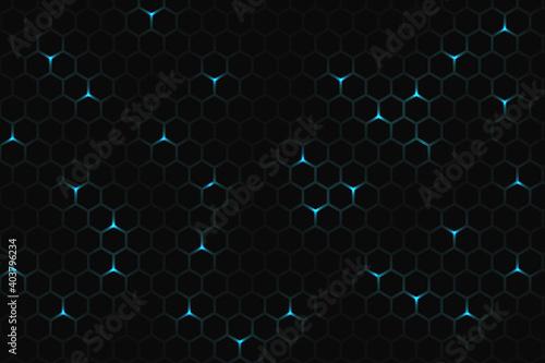 Dark technology hexagonal background Fototapet